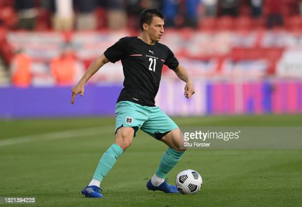 Austria player Stefan Lainer in action during the international friendly match between England and Austria at Riverside Stadium on June 02, 2021 in...