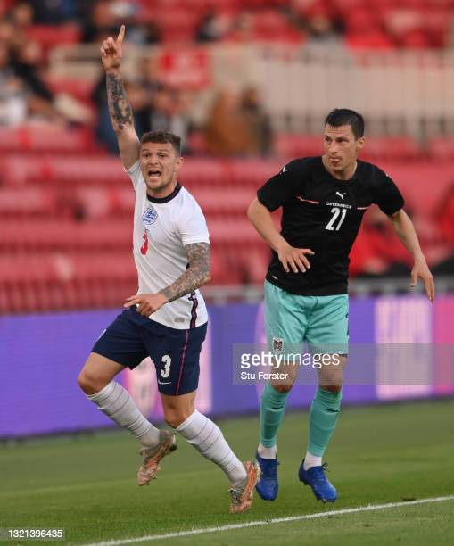 Austria player Stefan Lainer looks on as England defender Kieran Trippier appeals during the international friendly match between England and Austria...