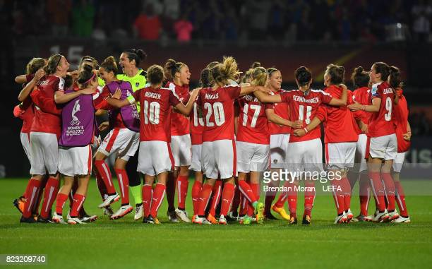 Austria players celebrate after the UEFA Women's EURO 2017 Group C match between Iceland and Austria at Sparta Stadion on July 26 2017 in Rotterdam...