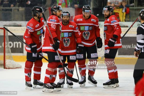 Austria players during the Austria v Denmark - Ice Hockey International Friendly at Erste Bank Arena on May 5, 2019 in Vienna, Austria.