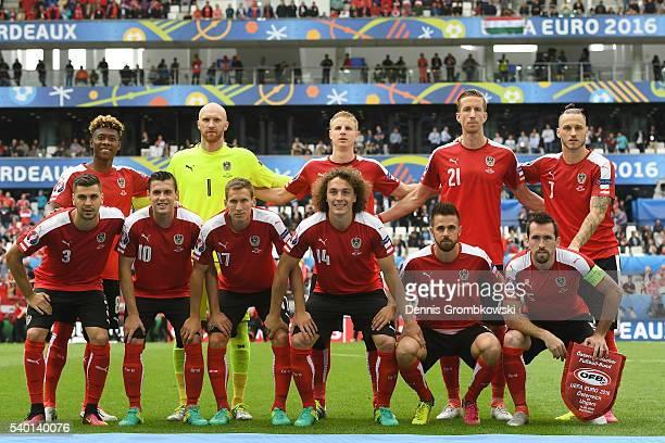 Austria players line up for the team photos prior to the UEFA EURO 2016 Group F match between Austria and Hungary at Stade Matmut Atlantique on June...
