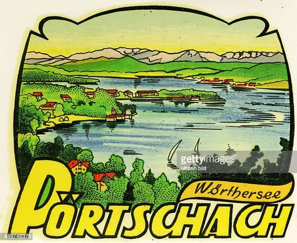 Austria Poertschach WoertherseeAlter historischer Kofferaufkleber aus den fuenfziger Jahren