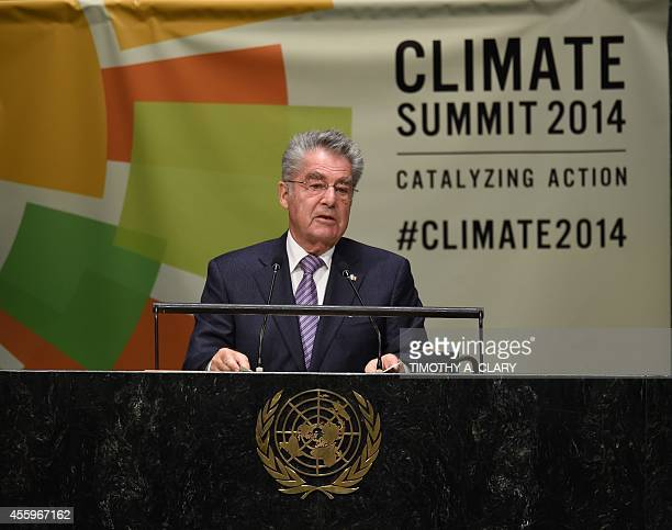 Austria President Heinz Fischer speaks during the Opening Session of the Climate Change Summit at the United Nations in New York September 23 in New...