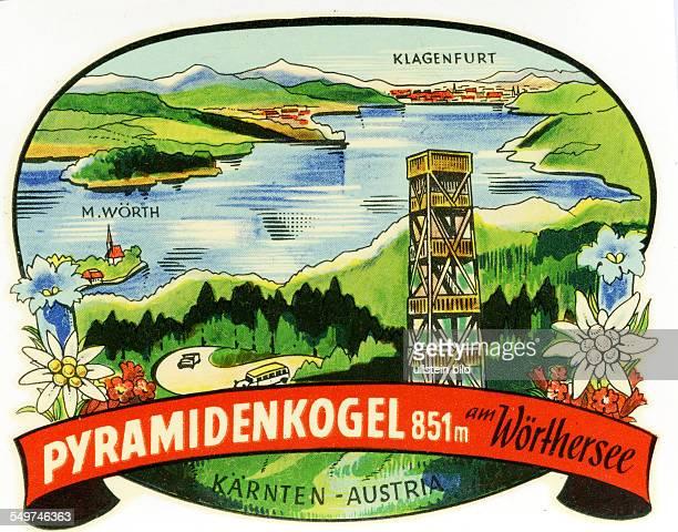 Austria PyramidenkogelAlter historischer Kofferaufkleber aus den fuenfziger Jahren