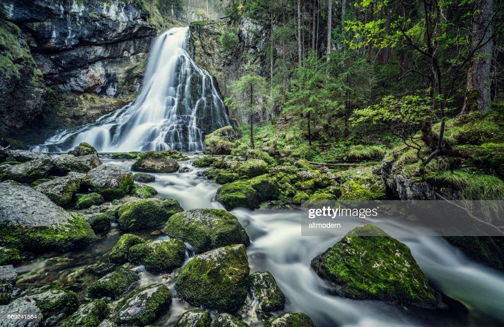 Austria, Salzburg, Beautiful waterfall in Golling : Stock Photo