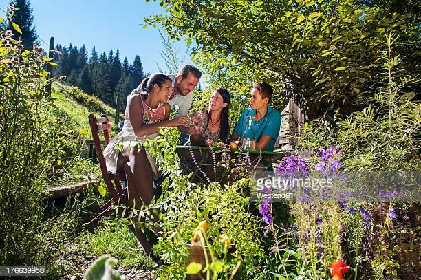 Austria, Salzburg Country, Family having garden party, smiling