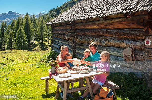 Austria, Salzburg Country, Family having rest at Altenmarkt Zauchensee