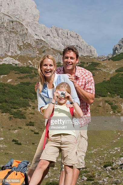 Austria, Salzburg Country, Filzmoos, Family hiking on alpine