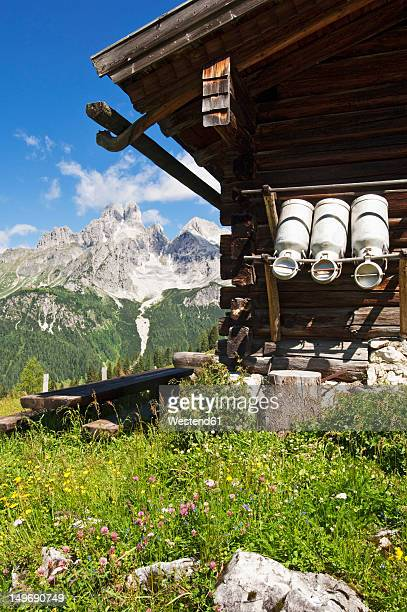 Austria, Salzburg County, Alpine hut in front of Mount Bischofsmutze