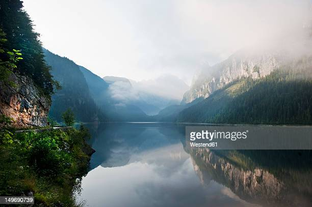 Austria, Salzburg County, View of Lake Vorderer Gosausee with mountains
