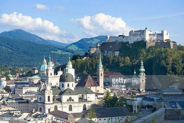 austria, salzburg , hohensalzburg fortress and city, elevated view - salzburger land stock pictures, royalty-free photos & images