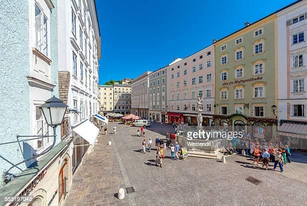 Austria, Salzburg, Old Market with Florianibrunnen at historic old town