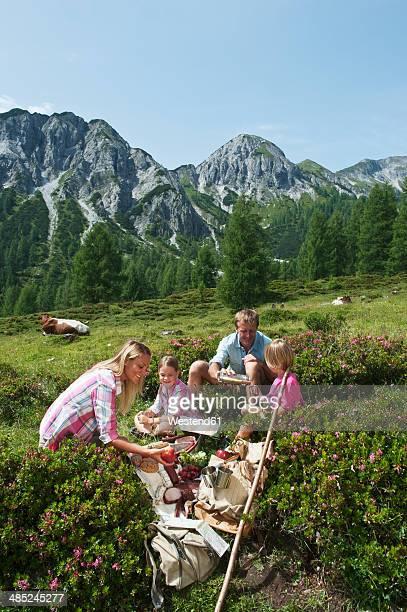 Austria, Salzburg State, Altenmarkt-Zauchensee, family with to children having a picnic on alpine meadow