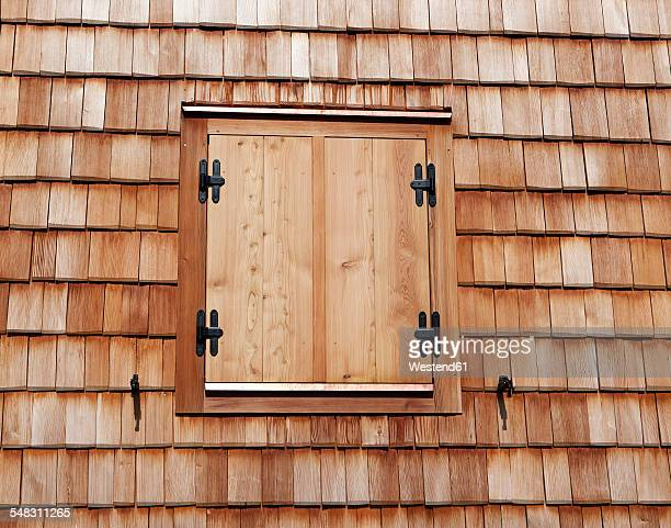 Austria, Salzburg State, closed shutter of a alpine cabin, wooden shindles