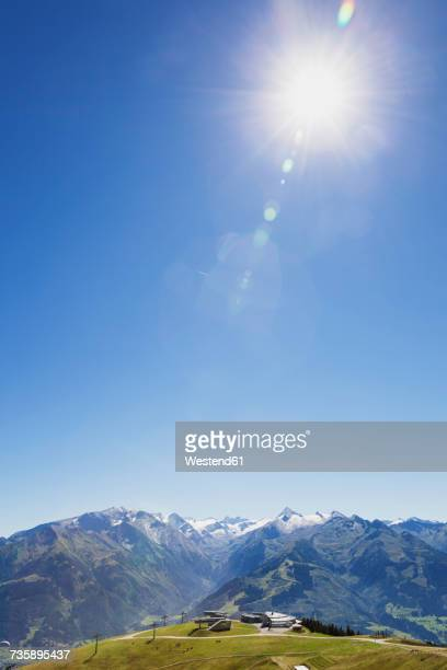 austria, salzburg state, mountain panorama from schmittenhoehe - lens flare stock pictures, royalty-free photos & images