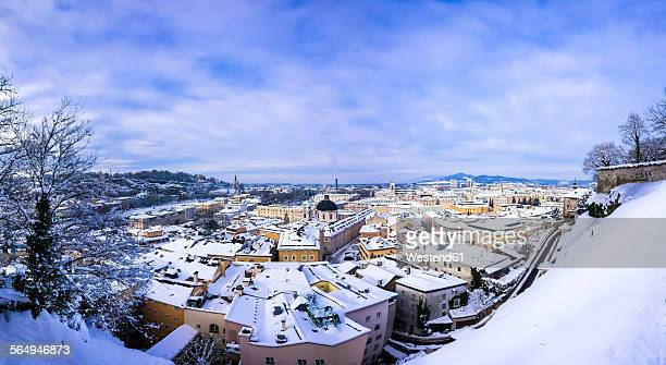 Austria, Salzburg State, Salzburg, View from Kapuzinerberg hill over Neustadt with Trinity Church, Hotel Bristol and Mirabell Palace