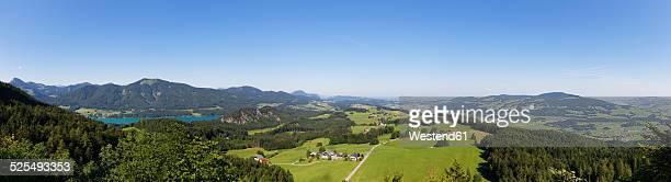 Austria, Salzburg State, Salzkammergut, View to Lake Fuschlsee left, Filbing Mountain,  Thalgau, Irrsee right, Panorama