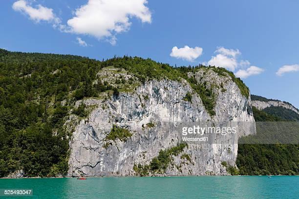 Austria, Salzburg State, Salzkammergut, Wolfgangsee Lake, Rock face of Falkenstein
