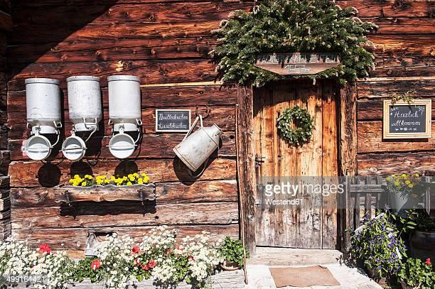 Austria, Salzburg State, Untertauern, Pongau, alpine cabin, milk churns