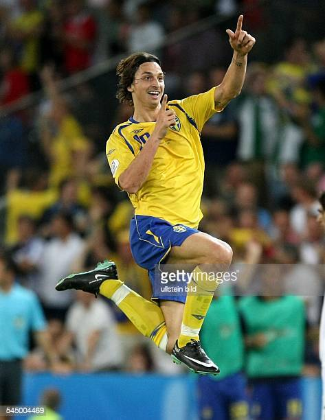 UEFA EURO 2008 Group D Greece v Sweden 02 Zlatan Ibrahimovic of Sweden cheering after scoring the opening goal