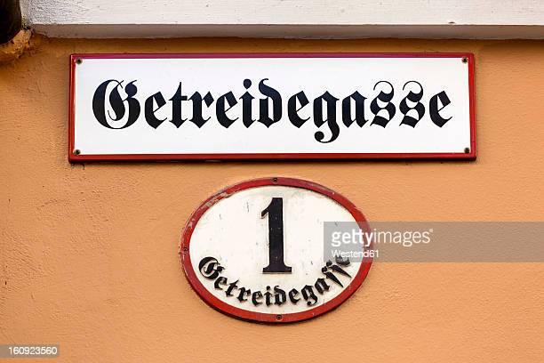 Austria, Salzburg, View of street sign at Getreidegasse