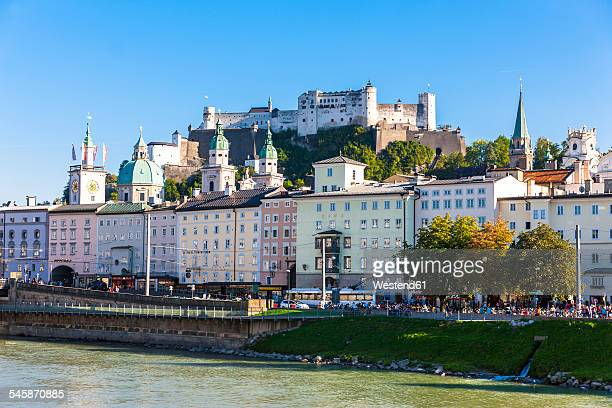 Austria, Salzburg, View to old town with Hohensalzburg Castle, River Salzach