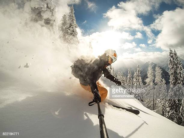 Austria, Salzburg, Zauchnsee, Person skiing in mountains