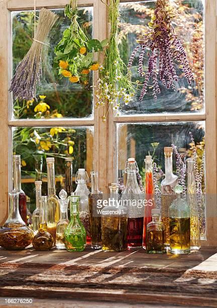 Austria, Salzburger Land, Altenmarkt,window with herbs and spices