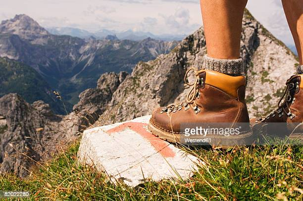 austria, salzburger land, hiking man, low section - hiking boot stock pictures, royalty-free photos & images