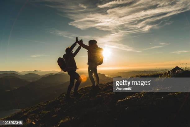 austria, salzkammergut, cheering couple reaching mountain summit - bergpiek stockfoto's en -beelden