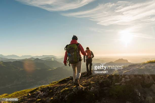 austria, salzkammergut, couple hiking in the mountains - klettern stock-fotos und bilder