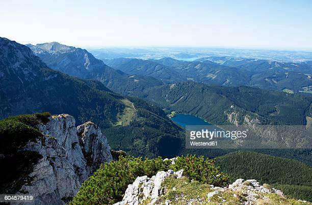 Austria, Salzkammergut, Eben lake, Feuerkogel, View of Langbathsee lake, Hoellen mountains