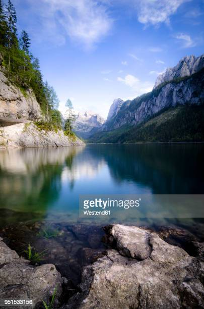 austria, salzkammergut, gosau, lake gosausee, dachstein and gosaukamm in the background - upper austria stock pictures, royalty-free photos & images