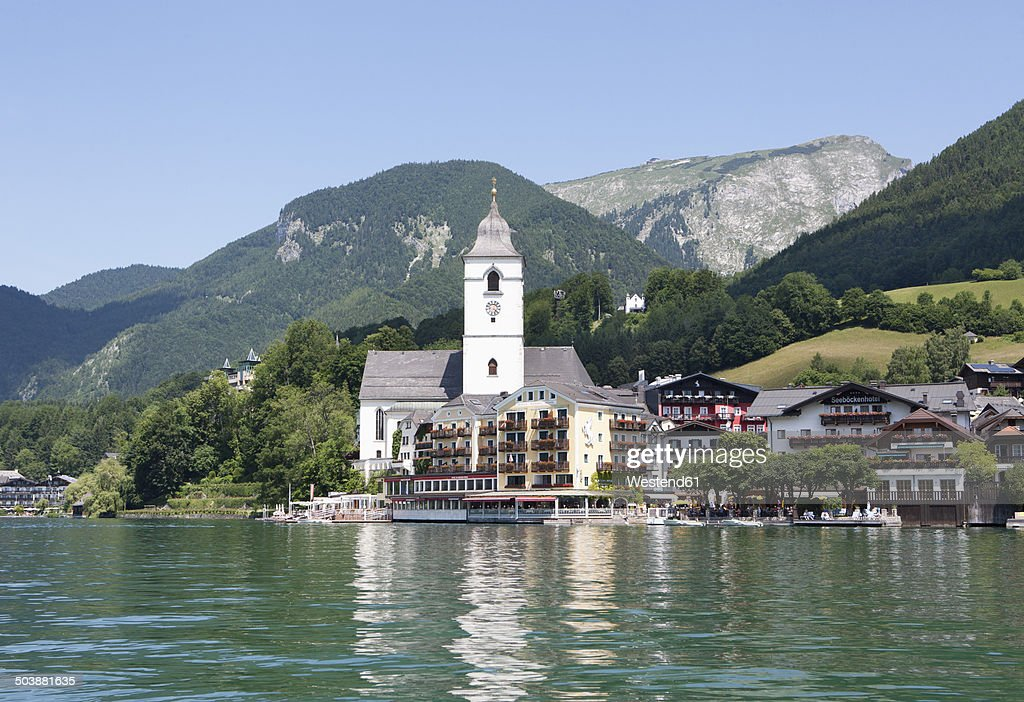 austria salzkammergut salzburg state lake wolfgangsee st wolfgang view of hotel weisses roessl. Black Bedroom Furniture Sets. Home Design Ideas