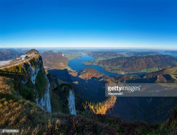 Austria, Salzkammergut, Schafberg, mountain hut, View to Mondsee and Attersee right