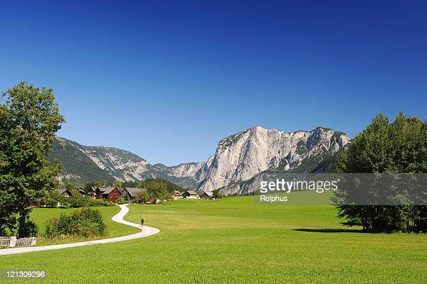 austria salzkammergut summer landscape with mountains and nature - sonnig stock pictures, royalty-free photos & images