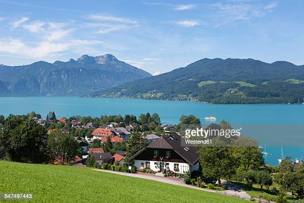 austria, seefeld, with lake attersee and schafberg - seefeld stock photos and pictures
