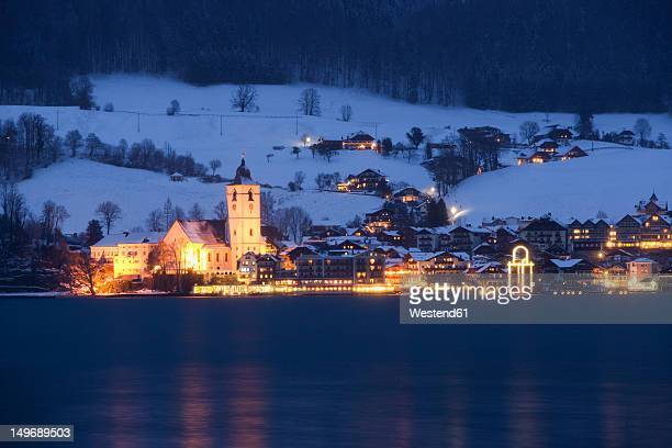 Austria, St. Wolfgang, View of town at night
