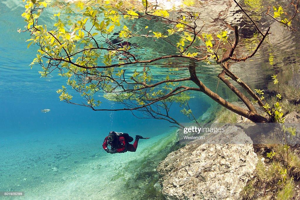 Austria, Styra, Tragoess, Green Lake, Diver : Stock Photo