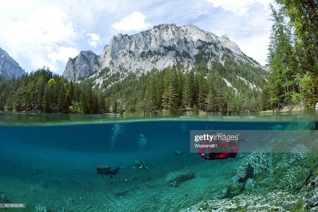 Austria, Styra, Tragoess, Green Lake, Divers : Stock Photo