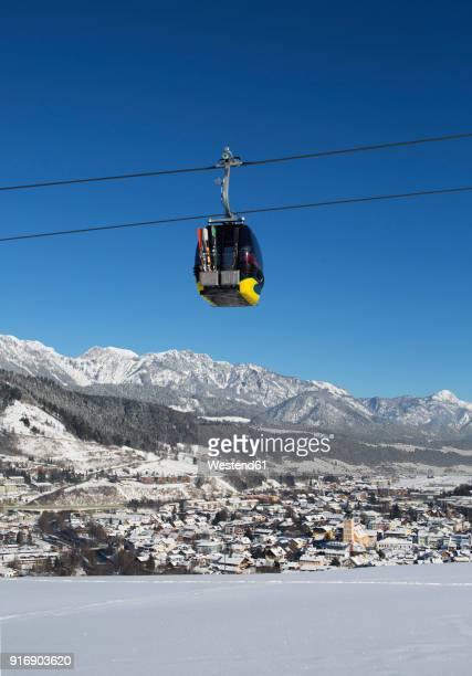 austria, styria, liezen district, schladming, planai west cable car, dachstein massif in the background - schladming stock pictures, royalty-free photos & images