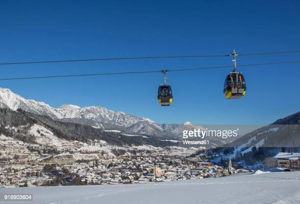 austria, styria, liezen district, schladming, planai west cable car - schladming stock pictures, royalty-free photos & images
