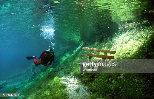 Austria, Styria, Tragoess, lake Gruener See, diver in front of a park bench