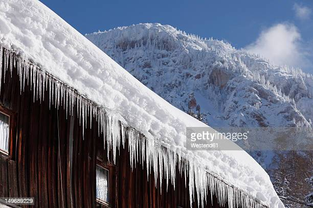 Austria, Styria, View of icicle on roof