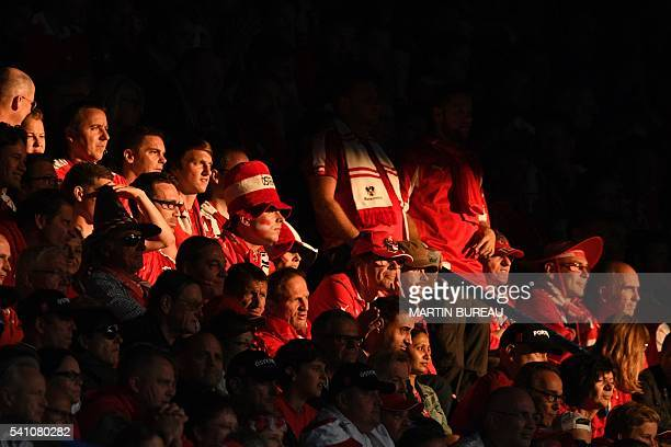 Austria supporters are seen prior to the Euro 2016 group F football match between Portugal and Austria at the Parc des Princes in Paris on June 18,...