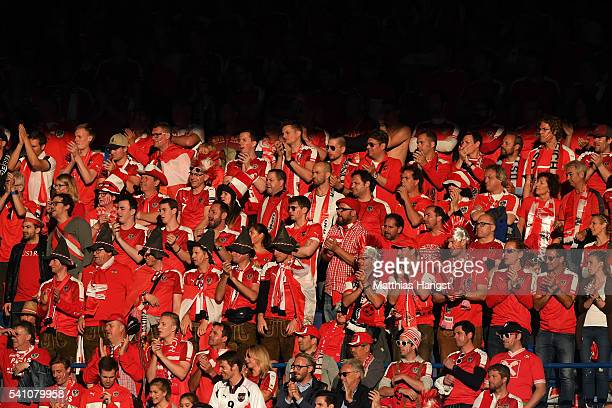 Austria supporters look on from the stands during the UEFA EURO 2016 Group F match between Portugal and Austria at Parc des Princes on June 18 2016...