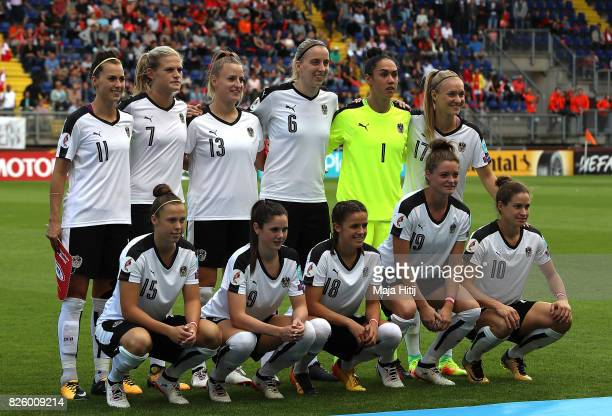 Austria team pose for a picture ahead of the UEFA Women's Euro 2017 Semi Final match between Denmark and Austria at Rat Verlegh Stadion on August 3...