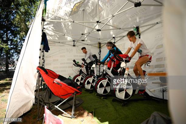 Austria team trains on the rowing machine during day two of the 2021 World Rowing European Olympic and Paralympic Qualification Regatta on April 06,...