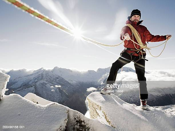 austria, tirol, hintertux glacier, mountaineer with rope (lens flare) - mountaineering stock pictures, royalty-free photos & images