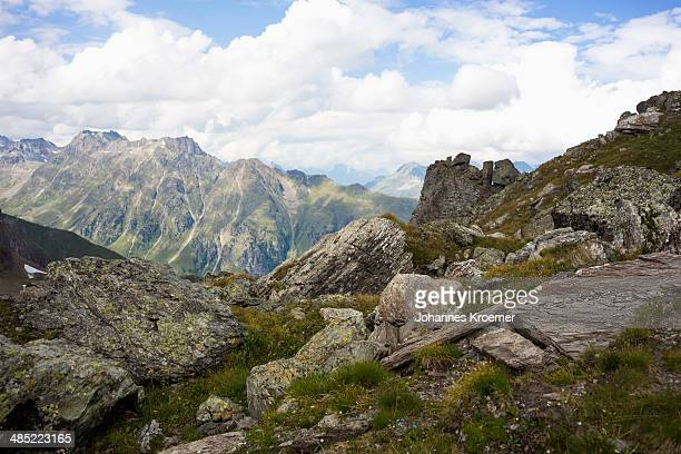 Austria, Tirol, Ischgl, View to rock formations of European Alps